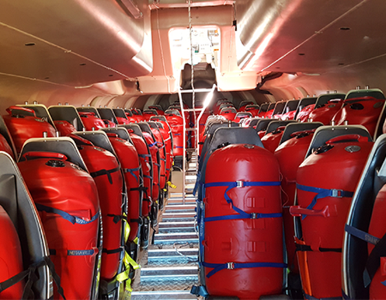 Fully loaded seats in free-fall lifeboat drop test, VIKING Norsafe